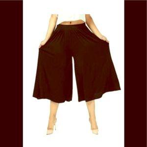 High Waist Wide Leg Capri Pants